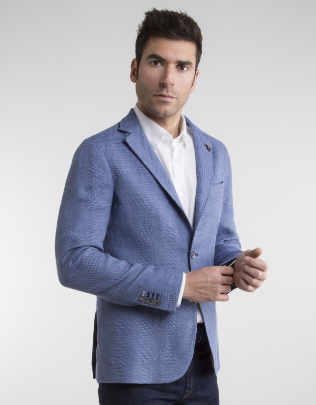 Deep blue bird's eye weave sport coat
