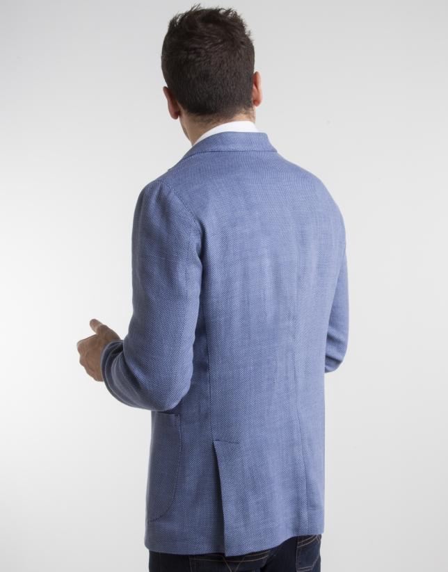 Deep blue bird's eye weave sport coat