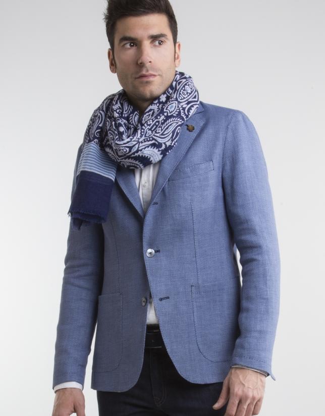 Veste à motif œil-de-perdrix bleu roi