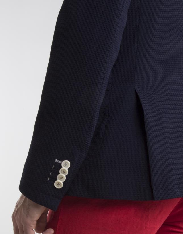 Navy blue knit sport coat