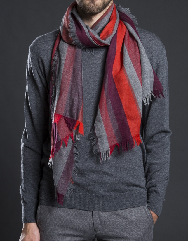 Grey and Bordeaux stripe scarf.