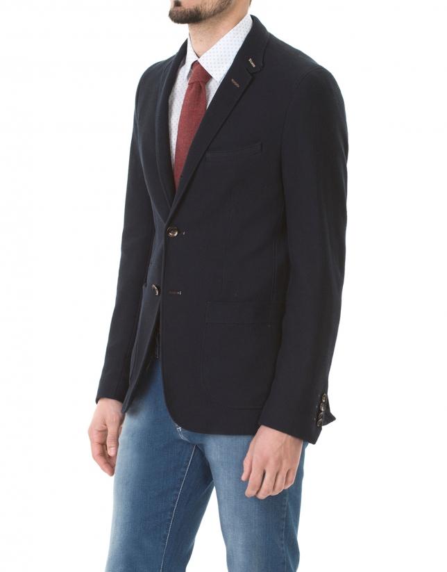Navy blue microprint sport jacket