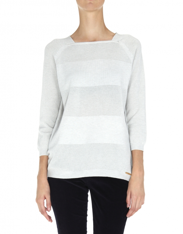 Gray striped three quarter sleeve sweater and square neck