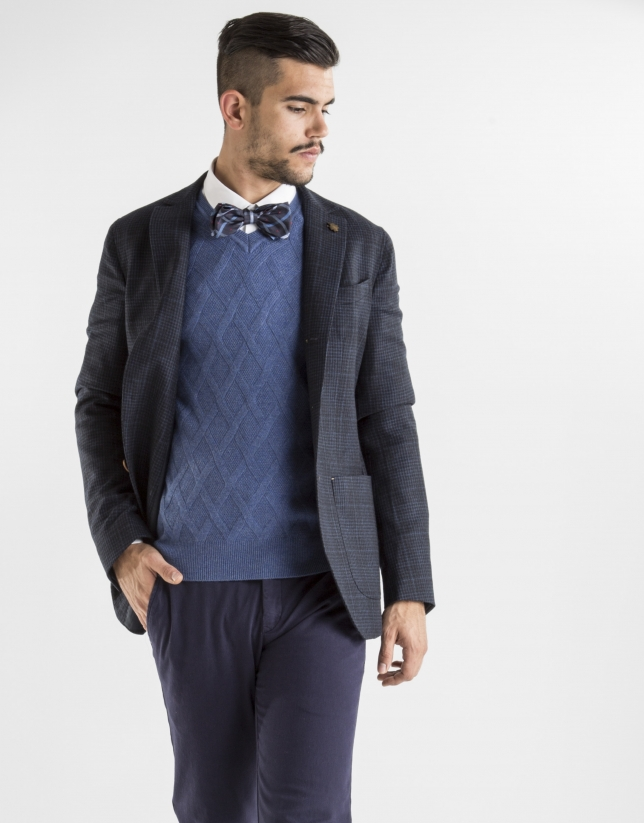 Navy blue checked sport jacket
