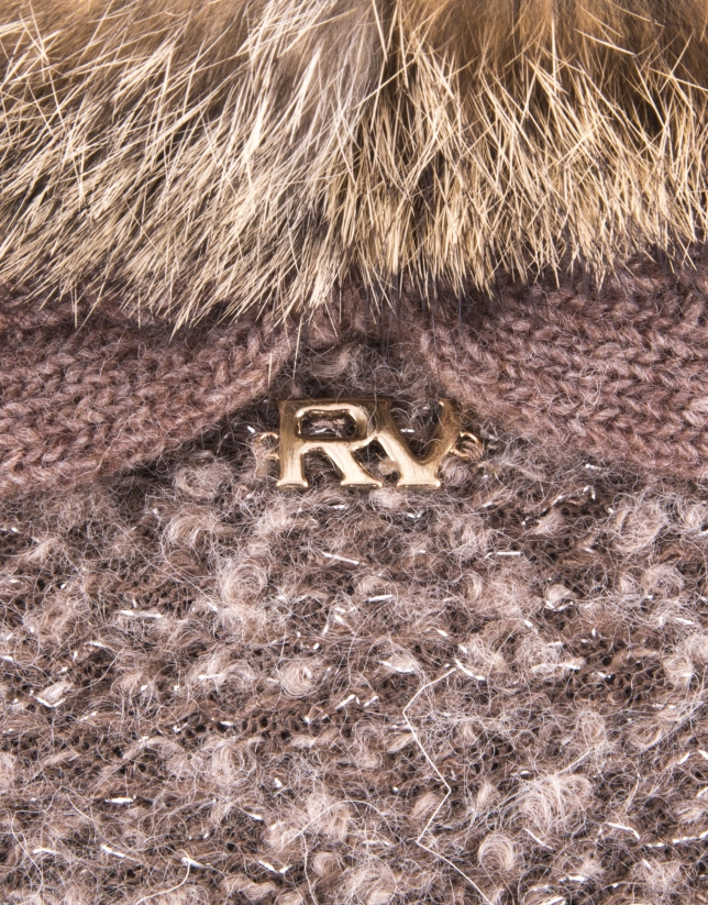 Gants en tricot couleur et poil de lapin naturel
