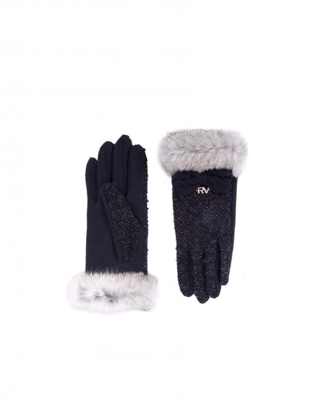 Blue knit gloves