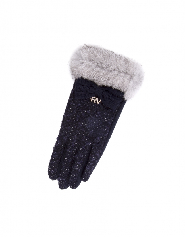 Blue knit gloves