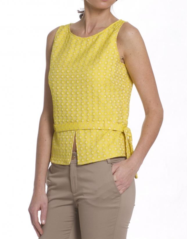 Yellow brocade top