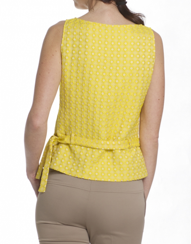 Yellow brocade top