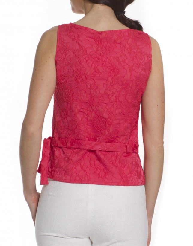Top in coral flowers