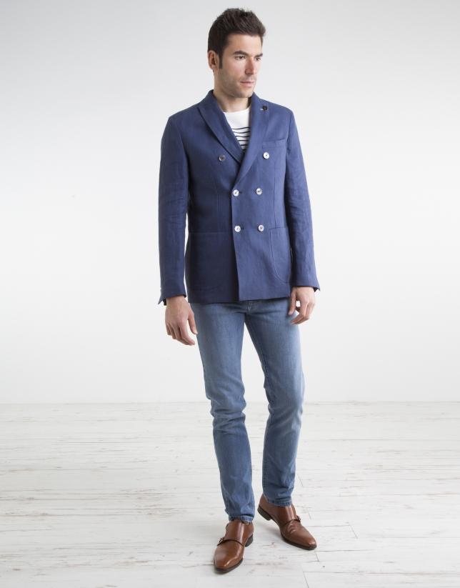 Americana lino/algodón marino