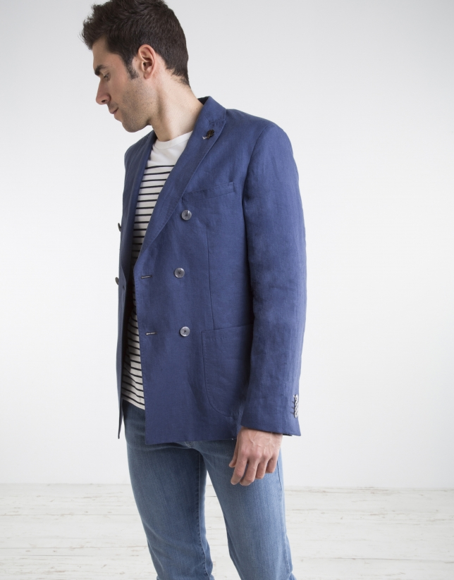 Navy blue cotton/linen sport coat