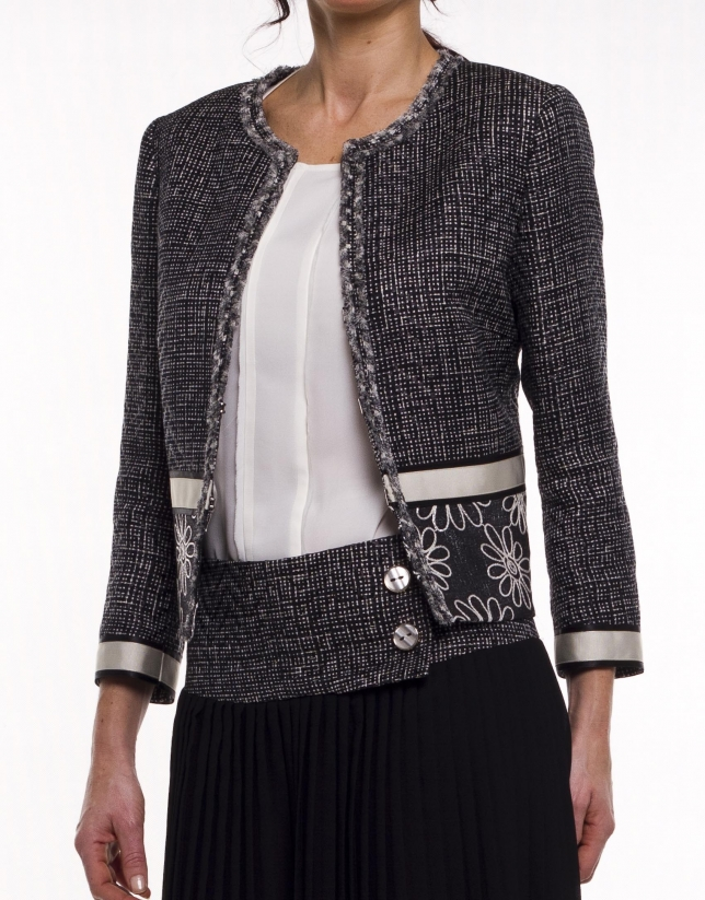 Combined print tweed jacket