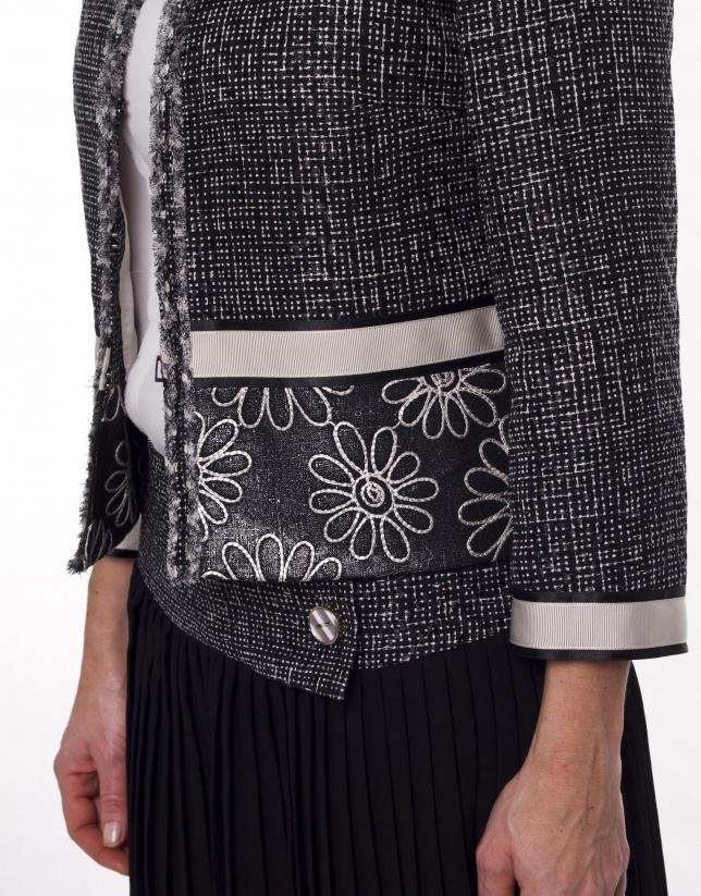 Veste tweed tissu uni et à motifs