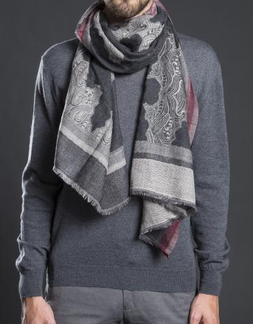 Foulard gris estampado  negro