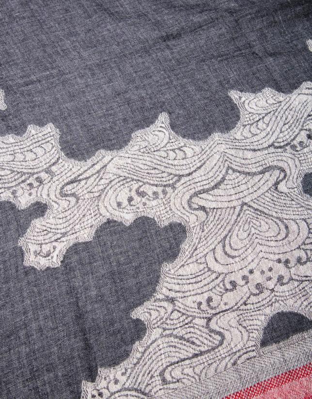Étole à motifs gris noir