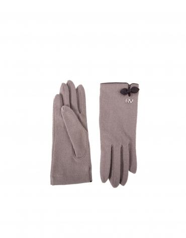 Gants en tricot couleur taupe et détails de cuir vachette marron