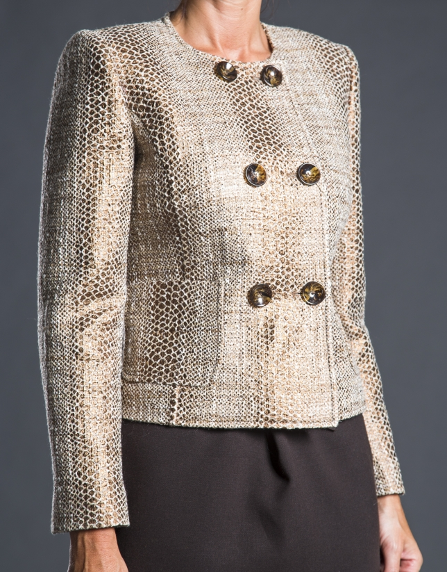 Short double-breasted beige jacket