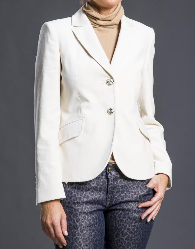 Cream velvet blazer with pockets