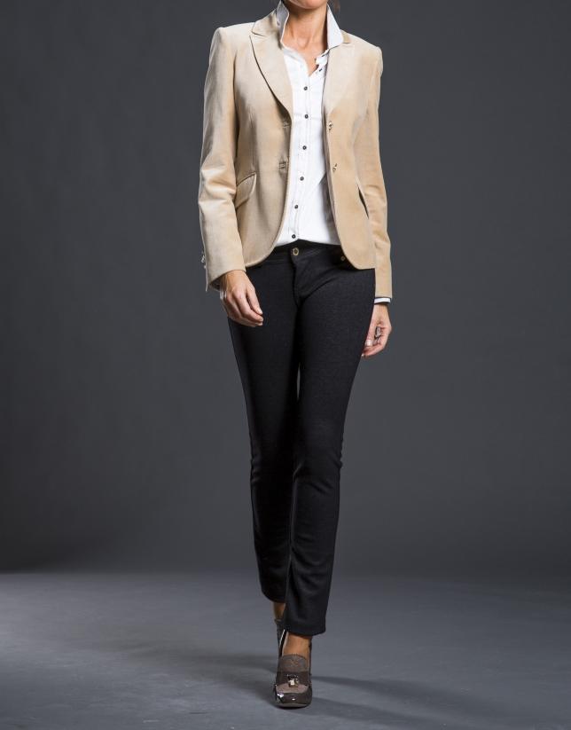 Camel velvet blazer with pockets