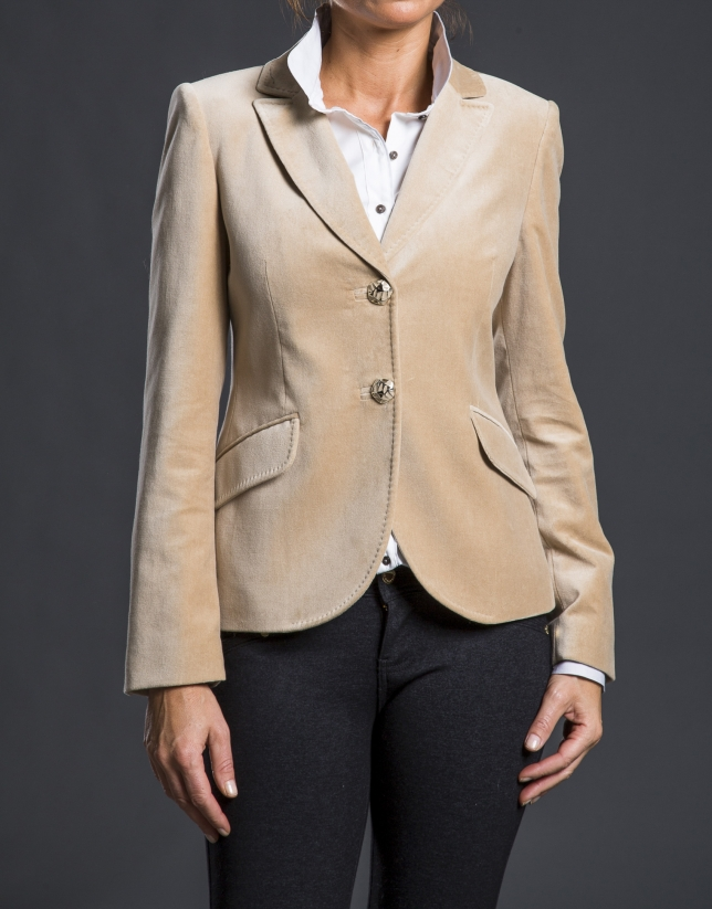 Camel velvet blazer with pockets