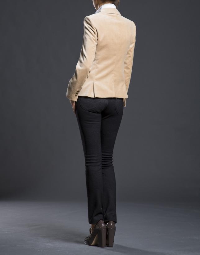 Blazer velours camel avec poches