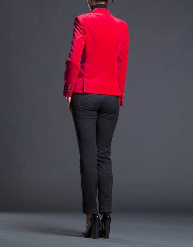 Blazer roja terciopelo bolsillos