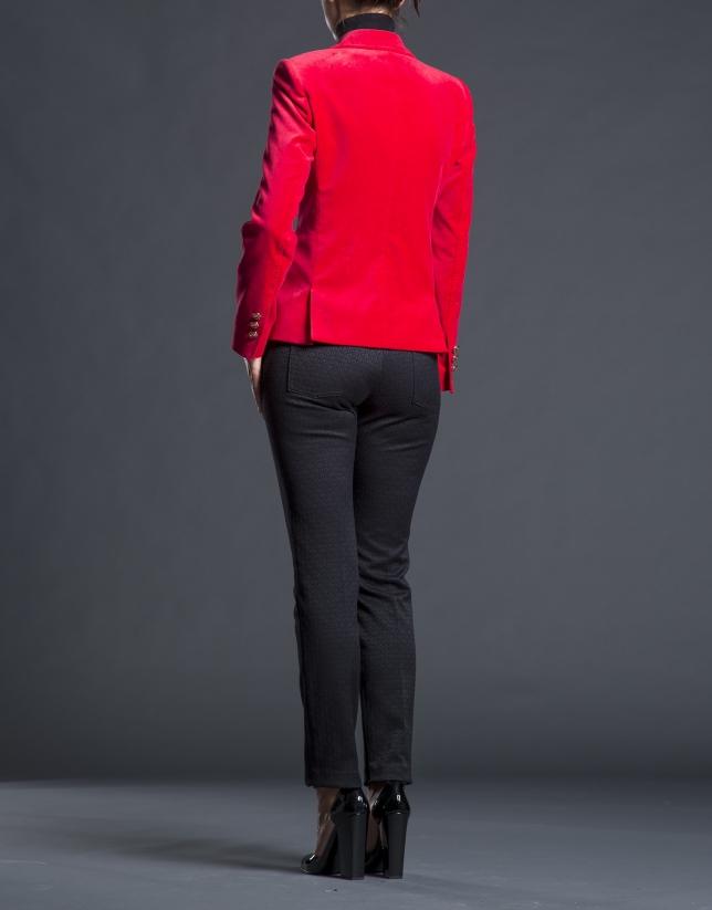 Red velvet blazer with pockets