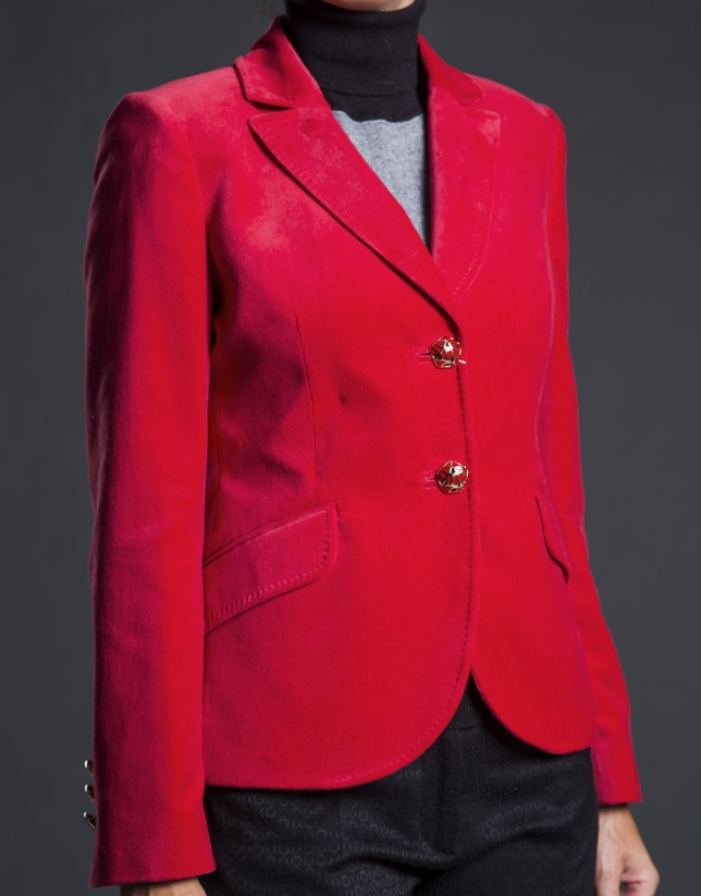 Red velvet blazer with pockets