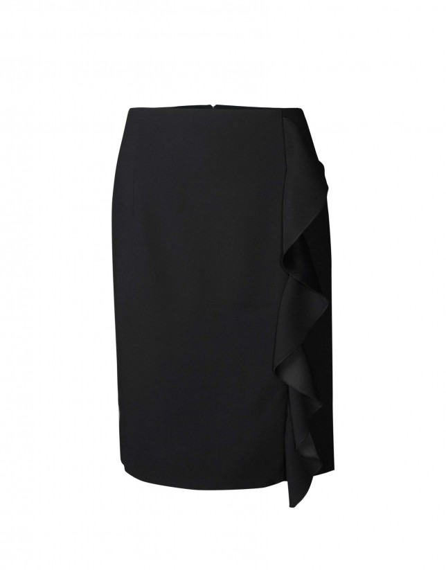 Straight skirt vertical ruffle