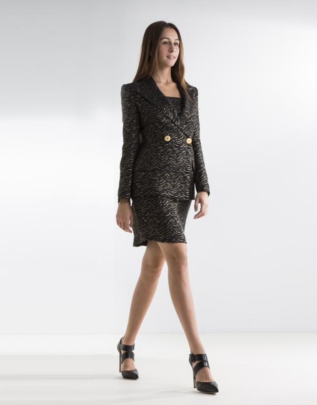 Black blazer with gold glitter