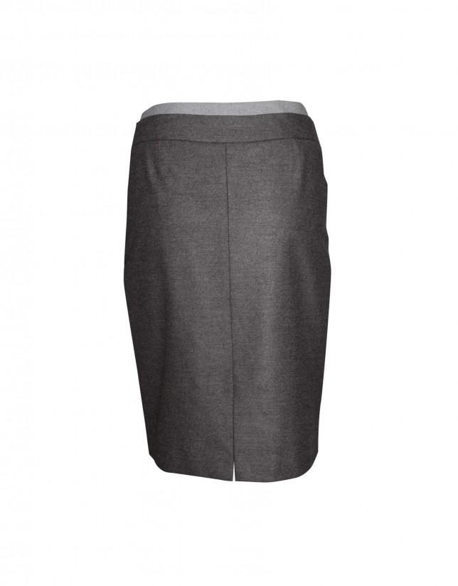 Falda gris pliegues con cinturón