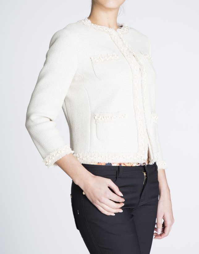 Beige short gross-grain and chiffon jacket