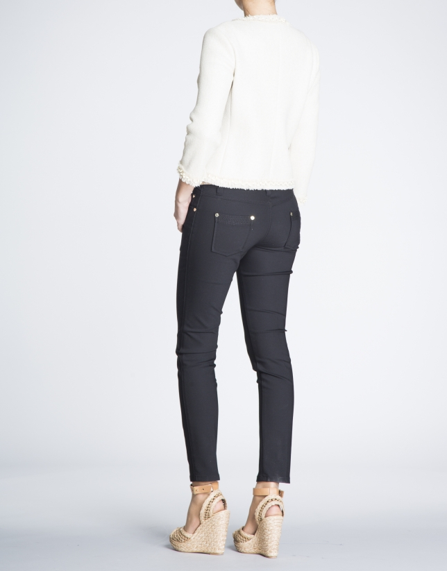 Beige short gross-grain and chiffon jacket