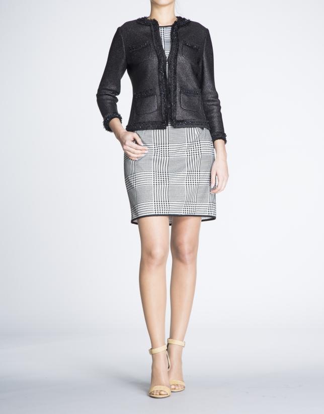 Black  short  gross-grain and chiffon jacket