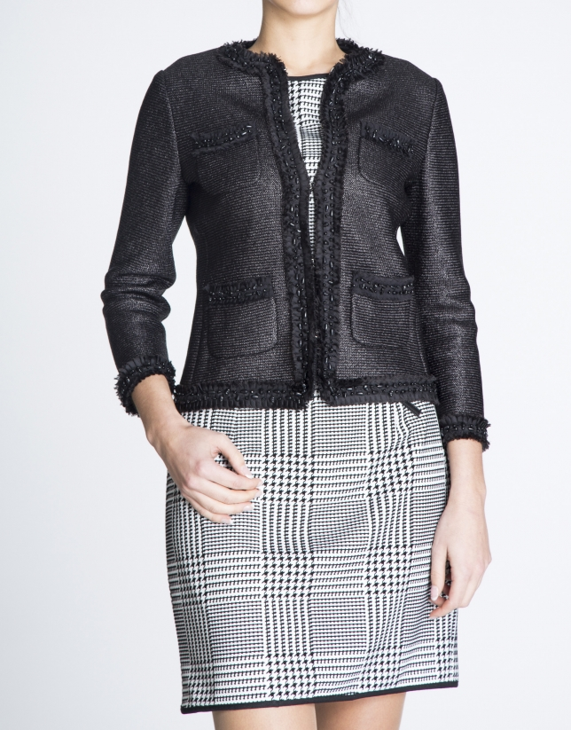 Black  short  gross-grain and chiffon jacket