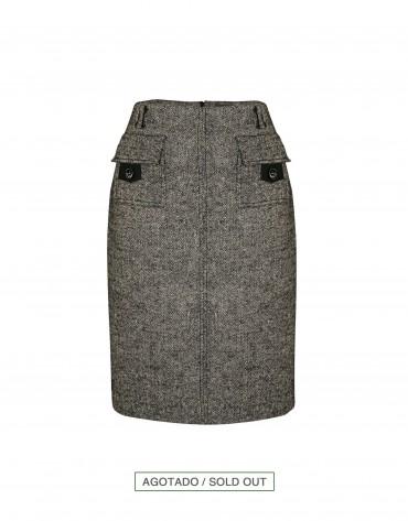 Grey herringbone skirt