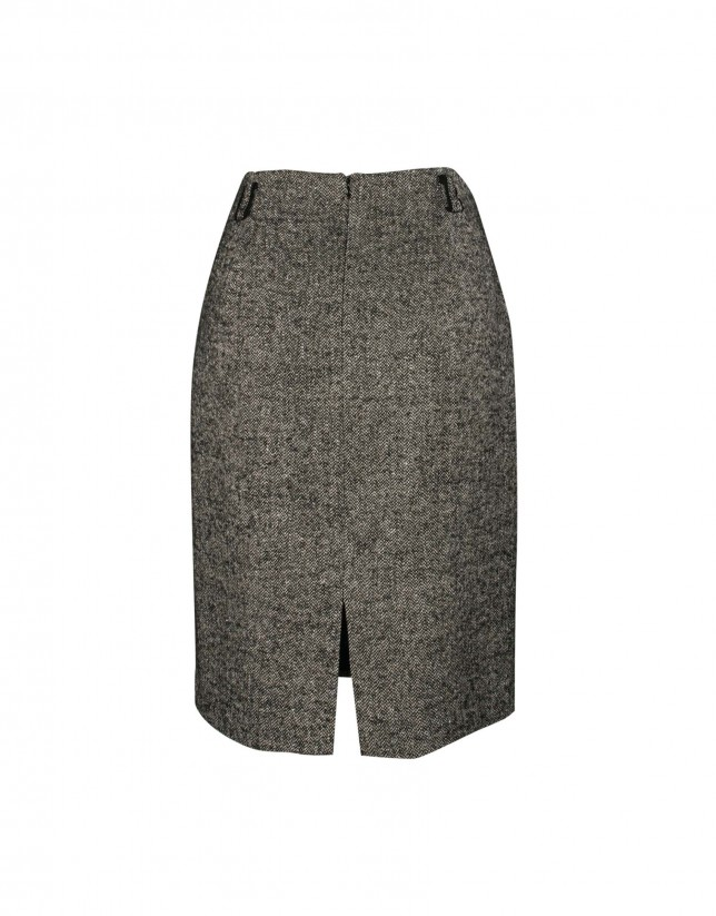 Grey herringbone skirt