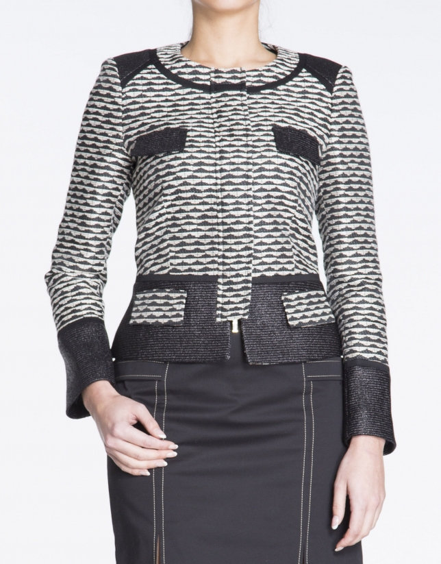 Geometric print short jacket