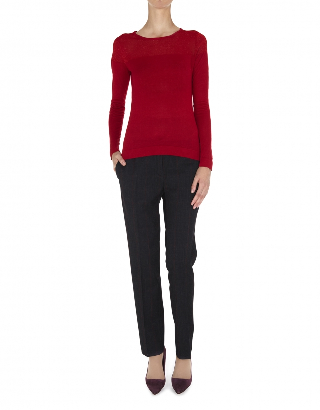Burgundy lurex sweater with transparent shoulders