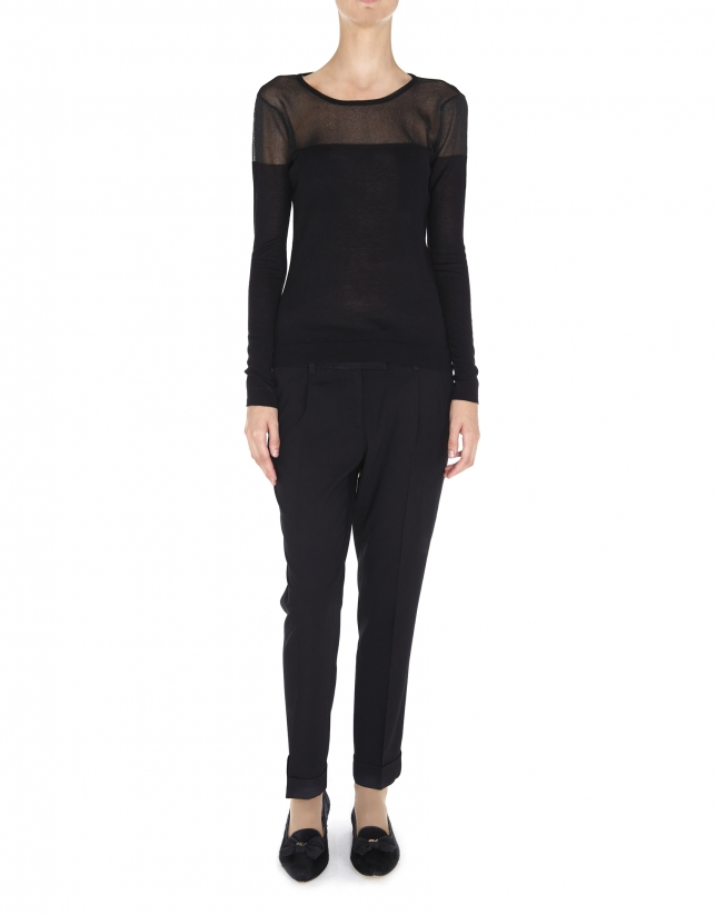 Jersey lurex negro hombros transparente