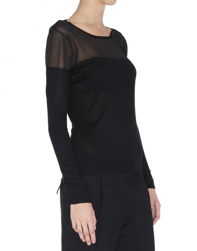 Black lurex sweater with transparent shoulders