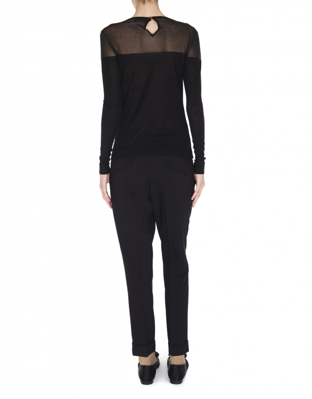 Black lurex sweater with transparent shoulders