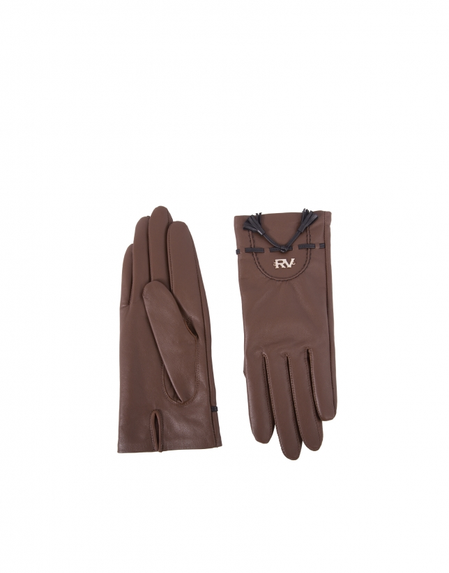 Brown leather gloves with black details