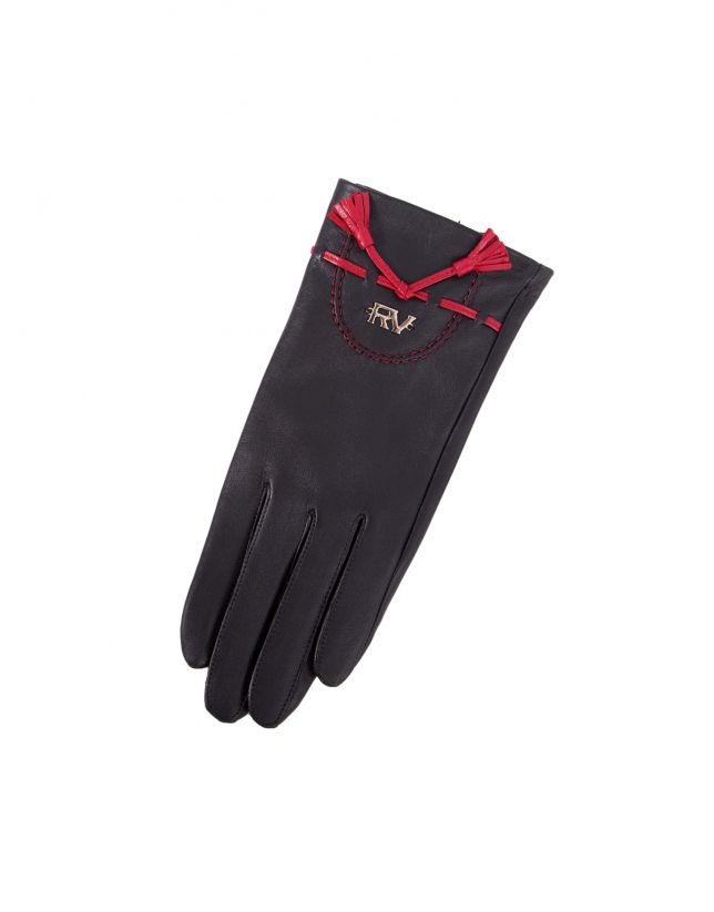 Black leather gloves.