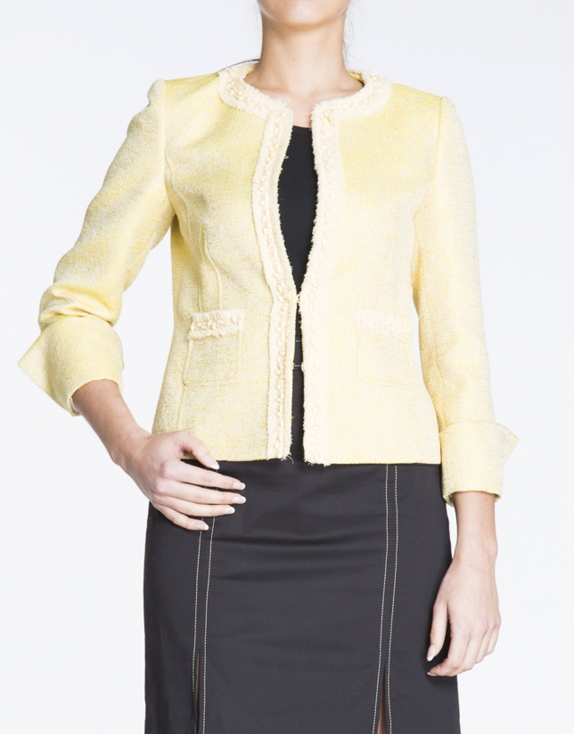 Yellow short worked fabric jacket