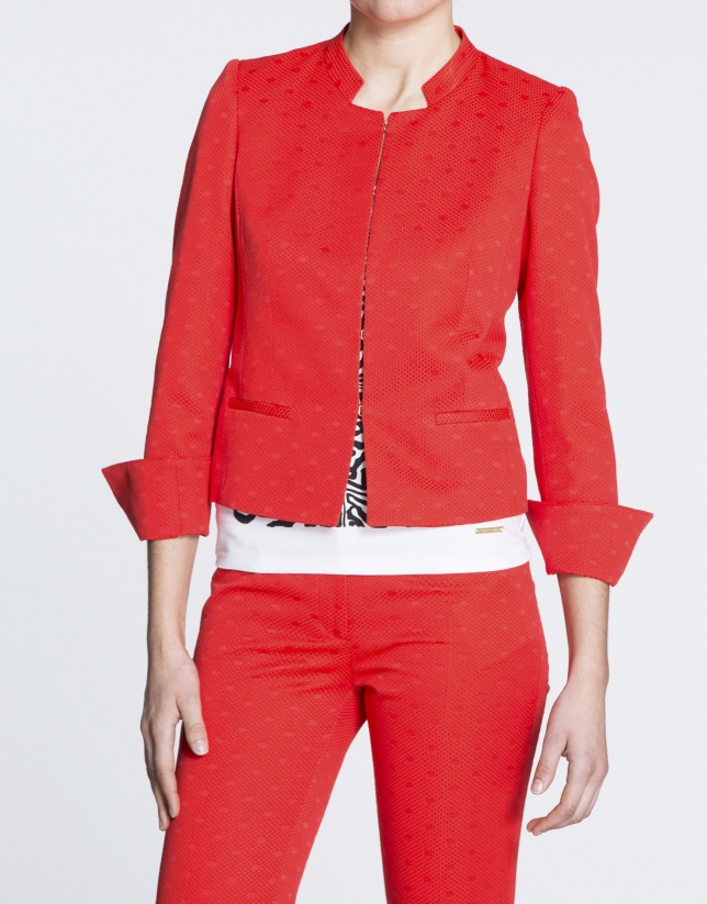 Geranium red jacquard knit short jacket with Mao collar