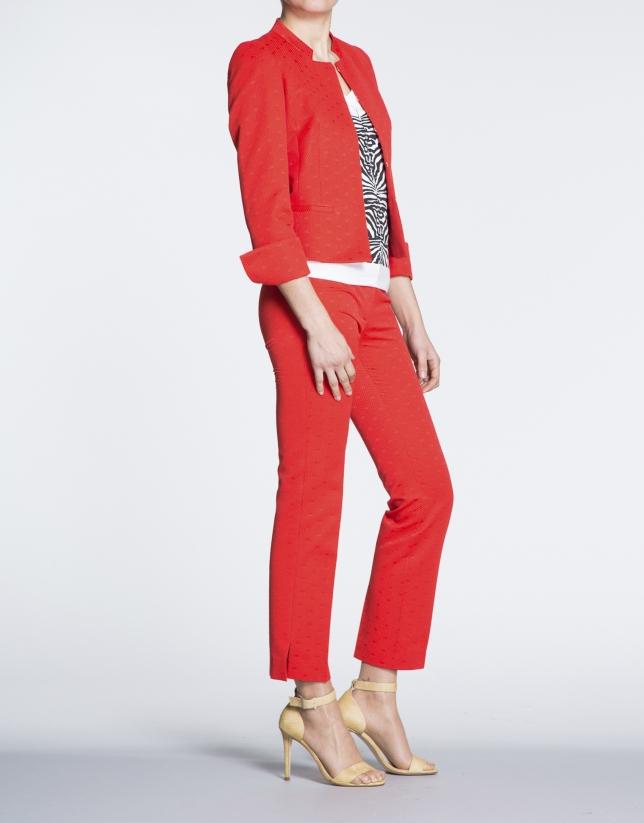 Geranium red jacquard knit short jacket with Mao collar