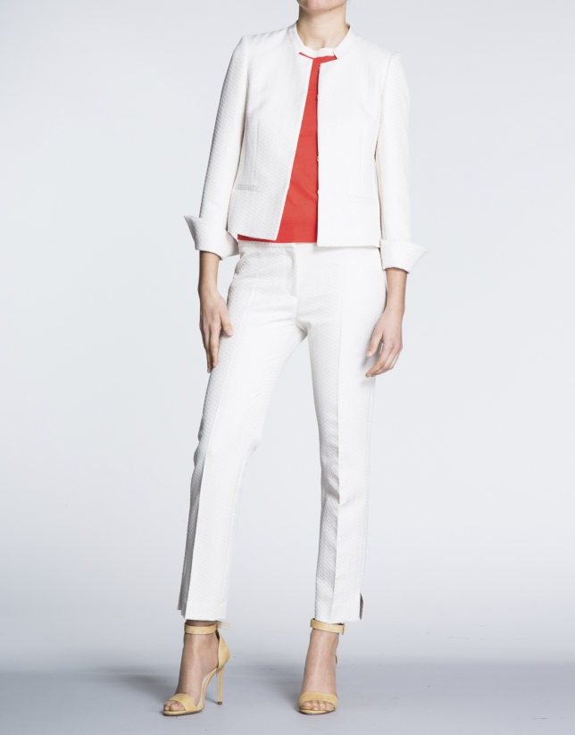 Ivory jacquard short jacket with  Mao collar