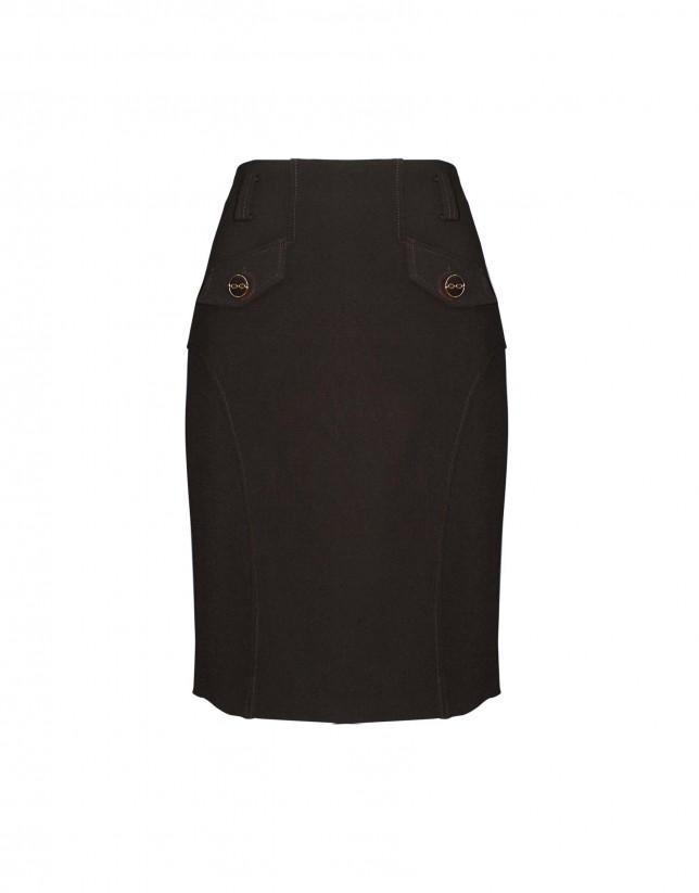 Falda marrón bolsillos